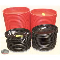 LOT OF 2 STACKS OF RED PLASTIC SERVING BASKETS W/