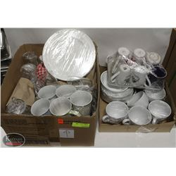 LOT OF ASSORTED GLASSWARE & DISHWARE INCL: SERVING