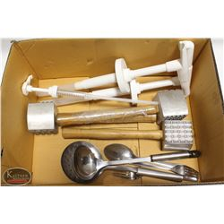 BOX ASSORTED MISC. INCLUDING: 4 MEAT MALLETS,