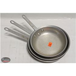 """STACK OF 3 ALUMINUM FRYING PANS, TWO- 9"""", ONE - 8"""""""