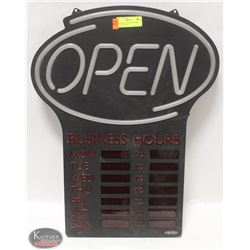 OPEN SIGN W/ BUSINESS HOURS DIGITAL DISPLAY