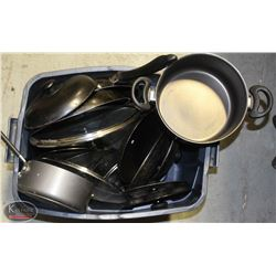 TOTE FULL OF VARIOUS POTS & LARGE PANS, LIDS