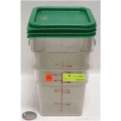 THREE 4QT CAMBRO INGREDIENT BINS W/ 3 GREEN LIDS