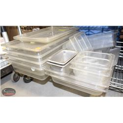 LOT OF VARIOUS POLY CARB INSERTS W/ LIDS