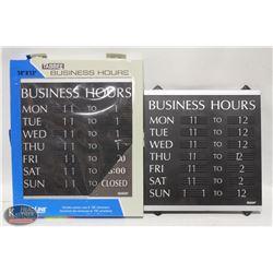 "TWO 14"" X 13"" TABBEE BUSINESS HOURS HEADLINE SIGN"