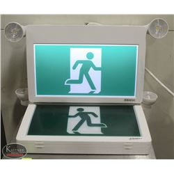 TWO STANPRO EMERGENCY EXIT GRAPHIC SIGNS
