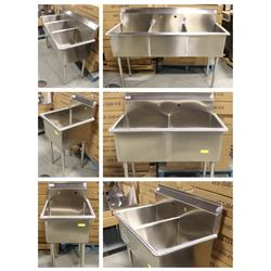 FEATURED LOTS: NEW STAINLESS STEEL COMMERCIAL SINKS