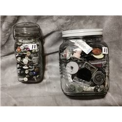 2 jars full of buttons