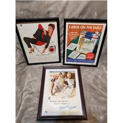 """3 original magazine ads, framed 12"""" X 15"""""""