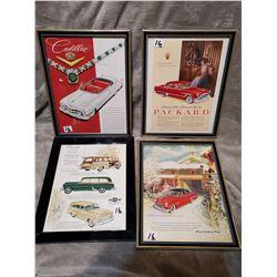 4 original magazine car ads, framed 9 x 12