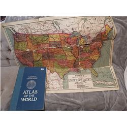 Antique USA school map & Giant map book