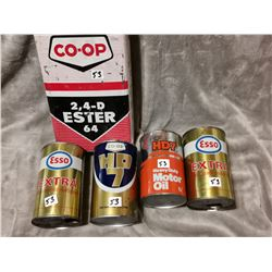 Lot of oil tins, 5 tins