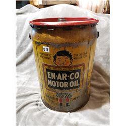 Canadian EN-AR-CO motor oil pail, rare