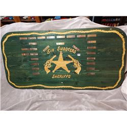 24 X 48 Local P.A. vintage six shooters sheriffs wood sign, cool