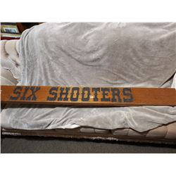 """Very heavy 'six shooters' bar wooden sign, 71"""" long"""