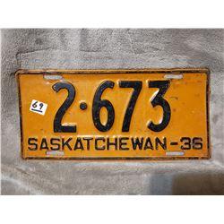 1936 Saskatchewan license plate