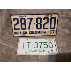 1957 B.C. and Yukon license plates