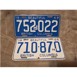 1969, 68 B.C. license plates
