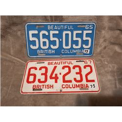 1965 & 1967 B.C. license plates