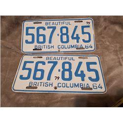 1964 matching set of B.C. license plates