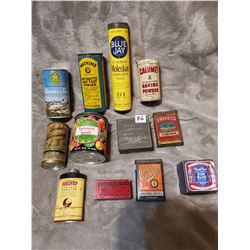 Old various spice & other tins, etc