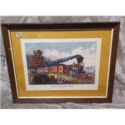"22"" X 17"" Antique original print, American express train"