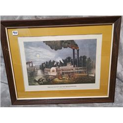 "22"" X 17"" Antique original print, ""wooding up"" Mississippi"