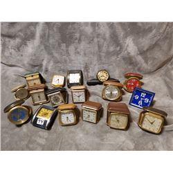 Huge lot of vintage travel alarm clocks, as is