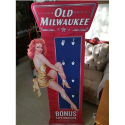 5' Old Milwaukee cardboard display, pin-up girl