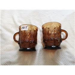 3 Fireking pale brown mugs