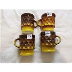 4 Fireking mugs yellow/brown