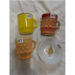 Fireking mixed lots, 3 mugs & plate