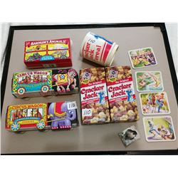 Cracker Jack lot & animal cookies, all full unopened