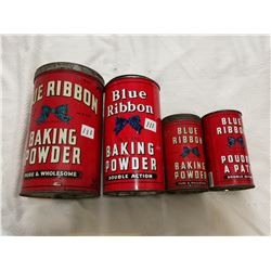 Blue Ribbon baking powder tin lot