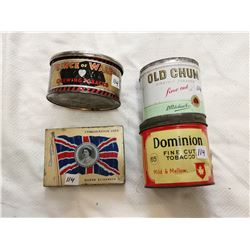 Tobacco tin lot, 4 tin cans