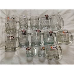 13 A&W mugs, thick glass