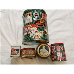 Coca-Cola tins, lot of 5