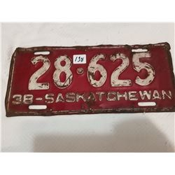 1938 Saskatchewan license plate
