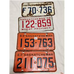 4 Saskatchewan license plates, 1958, 63, 61, 63