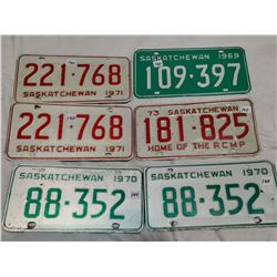 6 Saskatchewan license plates - Matching 1971, Matching 1970, 69, 73