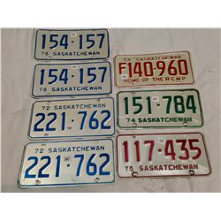 7 Saskatchewan license plates - 1976, matching 1972, 73, 74