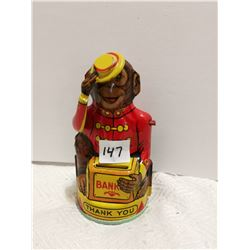 J. Chein USA tin monkey coin bank 5""