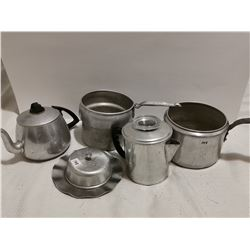 Vintage aluminum items, pots, tray
