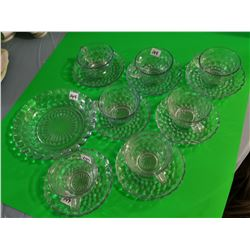 7 Clear blue cups & saucers & 1 plate
