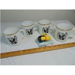 OVEN PROOF USA ANCHOR HOCKING BOWLING DECAL MUGS & CERAMIC PEN HOLDER