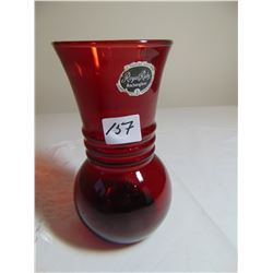 "ANCHOR HOCKING 5"" TALL RUBY RED VASE"