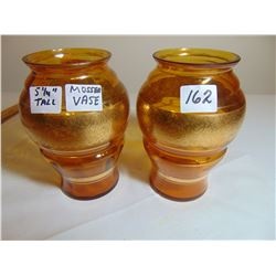 "PAIR OF 5.5"" MOSSER GOLD BANDED VASES"