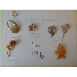 VINTAGE 7 COSTUME JEWELRY BROOCHES