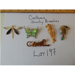 6 COSTUME JEWELRY BROOCHES ( ANIMALS/ INSECTS)