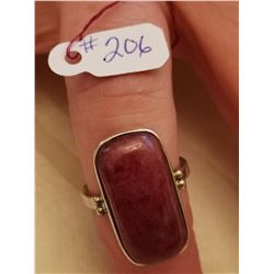 206.  Sterling ring with jasper stone, size 9